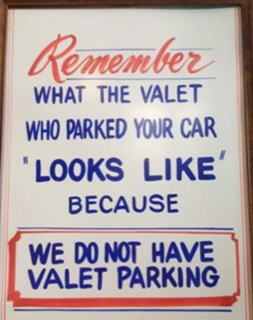 no valet parking
