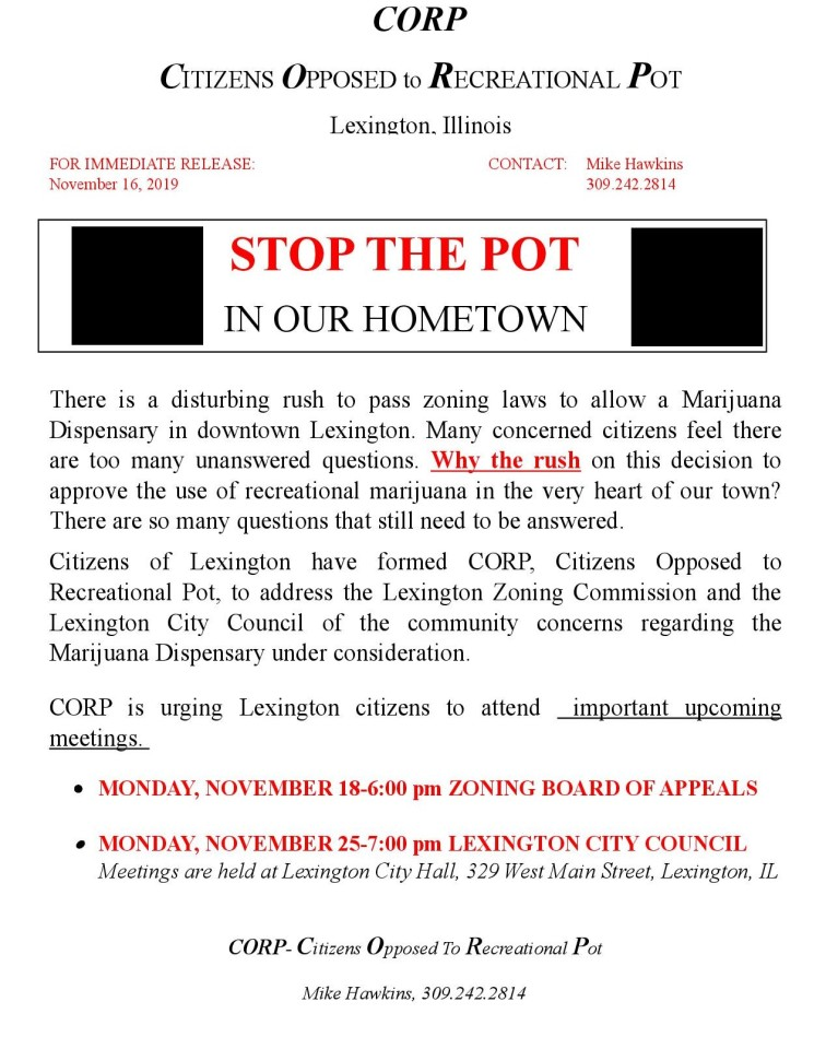 Press Release From CORP - Lexington - Citizens Opponed to Recreational Pot